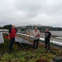 Die Stadträte (v.li.) Hans Deml, Siegfried Klopp und Phillip Poguntke besichtigen bereits vor einem Jahr die Kreuzschule Regensburg – mit grünem Dach und PV-Anlage.